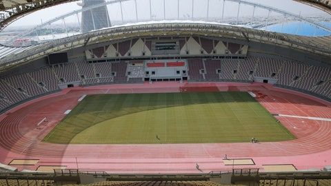 <p>               In this Wednesday, Oct. 31, 2018 picture men perform modernization work on the Khalifa International Stadium in Doha, Qatar. Eight stadiums scattered in a 30-mile radius that will host 32 teams from across the planet are in various stages of development, most of them trying to walk the treacherous line of paying homage to the region's history while simultaneously avoiding becoming an expensive and unused relic once the party ends and everyone else goes home. (AP Photo/Vadim Ghirda)             </p>