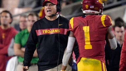 <p>               Southern California coach Clay Helton, left, yells to his team as Southern California wide receiver Velus Jones Jr. walks off the field during the second half of an NCAA college football game against Notre Dame on Saturday, Nov. 24, 2018, in Los Angeles. Notre Dame won 24-17. (AP Photo/Mark J. Terrill)             </p>