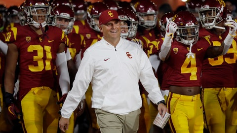 <p>               FILE - In this Oct. 13, 2018, file photo, Southern California head coach Clay Helton smiles as he enters the field with his team during an NCAA college football game against Colorado in Los Angeles. Saturday's game between USC and Oregon State will feature two contrasting teams. The Trojans are coming off a disheartening loss at home, while the Beavers had a statement-making win on the road. USC coach Clay Helton will try to get the Trojans back on track by taking over the play calling. (AP Photo/Marcio Jose Sanchez, File)             </p>