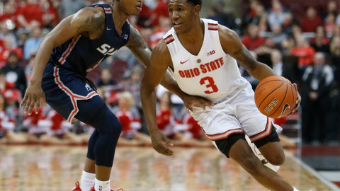 <p>               Ohio State's C.J. Jackson, right, brings the ball up court against Samford's Josh Sharkey during the second half of an NCAA college basketball game Tuesday, Nov. 20, 2018, in Columbus, Ohio. Ohio State beat Samford 68-50. (AP Photo/Jay LaPrete)             </p>