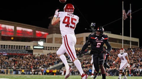 <p>               FILE - In this Saturday, Nov. 3, 2018, file photo, Oklahoma's Carson Meier (45) catches the ball for a touchdown during the first half of an NCAA college football game against Texas Tech in Lubbock, Texas. Oklahoma quarterback Kyler Murray  has star receivers in Marquise Brown and CeeDee Lamb, yet he doesn't hesitate to throw to other options such as Meier. (AP Photo/Brad Tollefson, File)             </p>