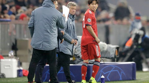 <p>               In this Nov. 27, 2018 photo Bayern midfielder Jeong Woo-yeong waits for his substitution during the Champions League group E soccer match between FC Bayern Munich and Benfica Lisbon in Munich, Germany. (AP Photo/Matthias Schrader)             </p>