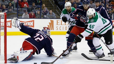 <p>               Columbus Blue Jackets' Sergei Bobrovsky, left, of Russia, makes a save as teammate Dean Kukan, right center, of Switzerland, Dallas Stars' Justin Dowling, left center, and Gemel Smith look for the rebound during the first period of an NHL hockey game Tuesday, Nov. 6, 2018, in Columbus, Ohio. (AP Photo/Jay LaPrete)             </p>