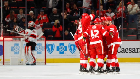 <p>               Detroit Red Wings right wing Martin Frk (42) celebrates his goal against the New Jersey Devils during the first period of an NHL hockey game Thursday, Nov. 1, 2018, in Detroit. (AP Photo/Paul Sancya)             </p>