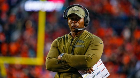 <p>               FILE - In this Sunday, Nov. 4, 2018, file photo, Denver Broncos head coach Vance Joseph watches during the second half of an NFL football game against the Houston Texas in Denver. The Broncos hit their bye week with a 3-6 record, in danger of posting back-to-back losing seasons for the first time since 1971-72.  (AP Photo/Jack Dempsey, File)             </p>