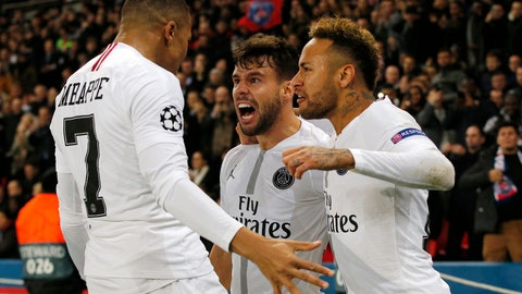 <p>               PSG defender Juan Bernat, center, celebrates after scoring his side's opening goal with teammates Neymar, right, and Kylian Mbappe during the Champions League Group C second leg soccer match between Paris Saint Germain and Liverpool at the Parc des Princes stadium in Paris, Wednesday, Nov. 28, 2018. (AP Photo/Thibault Camus)             </p>