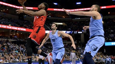 <p>               Toronto Raptors guard Kyle Lowry (7) shoots against Memphis Grizzlies forward Omri Casspi (18) and center Marc Gasol in the first half of an NBA basketball game, Tuesday, Nov. 27, 2018, in Memphis, Tenn. (AP Photo/Brandon Dill)             </p>