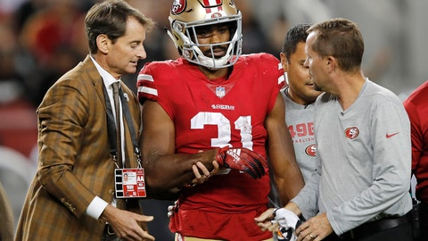 <p>               San Francisco 49ers running back Raheem Mostert (31) walks off the field with trainers during the second half of the team's NFL football game against the Oakland Raiders in Santa Clara, Calif., Thursday, Nov. 1, 2018. (AP Photo/John Hefti)             </p>
