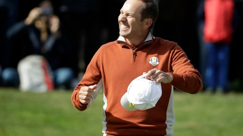 <p>               FILE - In this Saturday, Sept. 29, 2018 file photo, Europe's Sergio Garcia celebrates after holing a putt on the 17th green during a fourball match on the second day of the 42nd Ryder Cup at Le Golf National in Saint-Quentin-en-Yvelines, outside Paris, France. Sergio Garcia flies into a four-shot lead at the Nedbank Golf Challenge in South Africa with an 8-under-par 64 on Thursday, Nov. 8 securing the biggest first-round advantage on the European Tour for a year. Garcia made eight birdies in a brilliant start to the penultimate tournament of the season. Rory McIlroy started with a level-par 72.  (AP Photo/Matt Dunham, file)             </p>