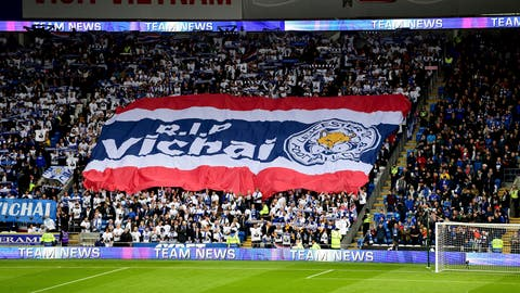 <p>               Leicester City fans with a giant banner that reads 'RIP Vichai' during the English Premier League soccer match between Cardiff City and Leicester City at the Cardiff City Stadium, Cardiff. Wales. Saturday Nov. 3, 2018. (Simon Galloway/PA via AP)             </p>