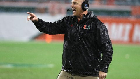 <p>               Miami head coach Mark Richt calls out during the first half of the team's NCAA college football game, Saturday, Nov. 3, 2018, in Miami Gardens, Fla. Duke won 20-12. (AP Photo/Lynne Sladky)             </p>