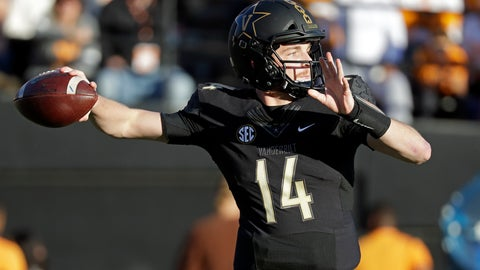 <p>               Vanderbilt quarterback Kyle Shurmur passes against Tennessee in the first half of an NCAA college football game Saturday, Nov. 24, 2018, in Nashville, Tenn. (AP Photo/Mark Humphrey)             </p>
