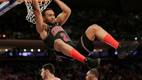 <p>               Chicago Bulls' Jabari Parker hangs on the rim after slamming the ball during the first overtime of the NBA basketball game against the New York Knicks, Monday, Nov. 5, 2018, in New York. The Bulls defeated the Knicks in double overtime 116-115. (AP Photo/Seth Wenig)             </p>