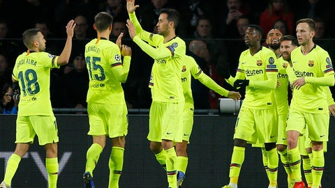 <p>               Barcelona players celebrate scoring their side's first goal during a Group B Champions League soccer match between PSV Eindhoven and Barcelona at the Philips stadium in Eindhoven, Netherlands, Wednesday, Nov. 28, 2018. (AP Photo/Peter Dejong)             </p>