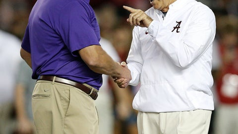 <p>               FILE - In this Nov. 4, 2017, file photo, Alabama head coach Nick Saban, right, and LSU head coach Ed Orgeron, left, meet in the center of the field before an NCAA college football game, in Tuscaloosa, Ala. Alabama and LSU face off on Saturday in Baton Rouge, La. (AP Photo/Brynn Anderson, File)             </p>