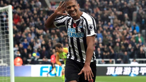 <p>               Newcastle United's Salomon Rondon celebrates scoring his side's second goal of the game during the English Premier League soccer match between Newcastle United and AFC Bournemouth at St James Park stadium, Newcastle, England. Saturday Nov. 10 2018 (Owen Humphreys/PA via AP)             </p>