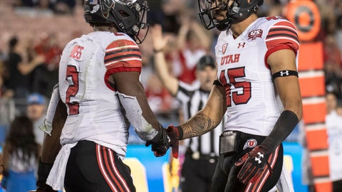 <p>               Utah running back Zack Moss, left, celebrates his touchdown with wide receiver Samson Nacua during the second half of an NCAA college football game against UCLA Friday, Oct. 26, 2018, in Pasadena, Calif. (AP Photo/Kyusung Gong)             </p>