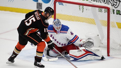 <p>               New York Rangers goaltender Alexandar Georgiev, Bulgaria, guards the net against Anaheim Ducks' Ryan Getzlaf during the shootout in an NHL hockey game Thursday, Nov. 1, 2018, in Anaheim, Calif. The Rangers won 3-2. (AP Photo/Jae C. Hong)             </p>