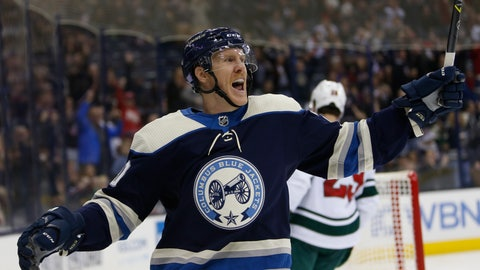 <p>               Columbus Blue Jackets' Riley Nash celebrates his goal against the Minnesota Wild during the second period of an NHL hockey game Thursday, Nov. 29, 2018, in Columbus, Ohio. (AP Photo/Jay LaPrete)             </p>