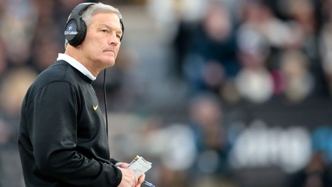 <p>               Iowa head coach Kirk Ferentz looks at the scoreboard while playing Purdue in the second half of an NCAA college football game in West Lafayette, Ind., Saturday, Nov. 3, 2018. (AP Photo/AJ Mast)             </p>