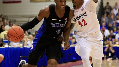 <p>               Duke forward RJ Barrett (5) tries to get around San Diego State guard Jeremy Hemsley (42) during the first half of an NCAA college basketball game at the Maui Invitational, Monday, Nov. 19, 2018, in Lahaina, Hawaii. (AP Photo/Marco Garcia)             </p>