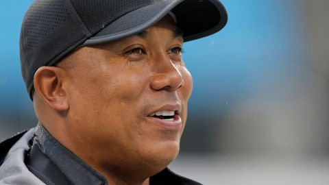 """<p>               FILE - In this Thursday, Aug. 31, 2017, file photo, former Pittsburgh Steelers wide receiver Hines Ward walks the sidelines before an NFL preseason football game against the Carolina Panthers in Charlotte, N.C. On Tuesday, Nov. 27, 2018, the Alliance of American Football, an eight-team spring league that begins play the weekend after the Super Bowl, will stage a """"protect or pick"""" quarterback draft. Ward, the Alliance's head of football development, will be the host, and the biggest name in the proceedings. (AP Photo/Bob Leverone, File)             </p>"""