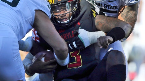 <p>               FILE - In this Saturday, Nov. 3, 2018, file photo, Maryland quarterback Tyrrell Pigrome, center, is tackled by Michigan State's Joe Bachie, right, in the second half of a NCAA college football game in College Park, Md. Bachie, who is from Brook Park, Ohio, was named the Big Ten defensive player of the week after he forced a career-high three fumbles, matched a career-high two pass breakups and had seven tackles in a 24-3 win at Maryland. (AP Photo/Gary Cameron, File)             </p>