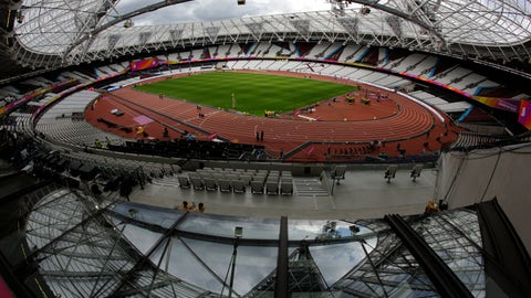 <p>               FILE - In this Aug. 1, 2017, file photo, setup preparations take place for the World Athletics Championships at London Stadium in Queen Elizabeth Olympic Park in London. Tickets for Major League Baseball's first games in Britain will cost a king's ransom. Premium seats at London's Olympic Stadium will cost 385 pounds ($493) for the games between the New York Yankees and World Series champion Boston Red Sox on June 29 and 30. The top non-premium seats near the infield cost 320 pounds ($410). (AP Photo/Matt Dunham, File)             </p>