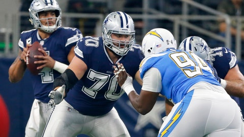 <p>               FILE - In this Thursday, Nov. 23, 2017, file photo, Dallas Cowboys guard Zack Martin (70) defends against a rush by Los Angeles Chargers defensive tackle Corey Liuget (94) as quarterback Dak Prescott (4) drops back in the pocket during an NFL football game against the Los Angeles Chargers in Arlington, Texas. Zack Martin can't pinpoint why the Dallas offensive line was better in consecutive road wins after a mostly rugged first half of the season. The Cowboys right guard has a few options: time to adjust to the season-long absence of fellow Pro Bowler Travis Frederick, a steady showing from veteran Xavier Su'a-Filo at left guard for injured rookie Connor Williams or the midseason position coaching change to former Dallas lineman Marc Colombo.(AP Photo/Roger Steinman, File)             </p>