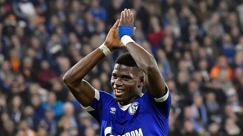 <p>               Schalke's Breel Embolo celebrates with supporters during the Champions League group D soccer match between FC Schalke 04 and Galatasaray Istanbul in Gelsenkirchen, Germany, Tuesday, Nov. 6, 2018. (AP Photo/Martin Meissner)             </p>