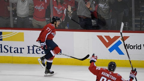 <p>               Washington Capitals right wing T.J. Oshie (77) celebrates his goal alongside center Evgeny Kuznetsov (92), of Russia, during the third period of an NHL hockey game against the Pittsburgh Penguins, Wednesday, Nov. 7, 2018, in Washington. The Capitals won 2-1. (AP Photo/Nick Wass)             </p>
