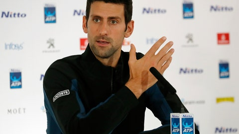 <p>               Tennis player Novak Djokovic of Serbia speaks during a press conference before the official launch of the ATP Tennis finals in London, Friday, Nov. 9, 2018.(AP Photo/Frank Augstein)             </p>