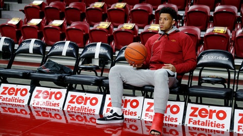 <p>               Injured Iowa State guard Lindell Wigginton sits on the bench before an NCAA college basketball game against Missouri, Friday, Nov. 9, 2018, in Ames, Iowa. (AP Photo/Charlie Neibergall)             </p>