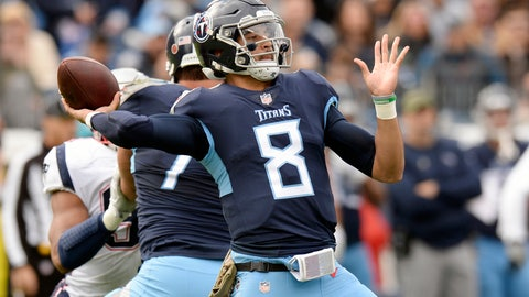 <p>               FILE - In this Nov. 11, 2018, file photo, Tennessee Titans quarterback Marcus Mariota throws a pass against the New England Patriots during the first half of an NFL football game in Nashville, Tenn. The Titans play the Houston Texans, who have won seven games in a row, Monday night. (AP Photo/Mark Zaleski, File)             </p>
