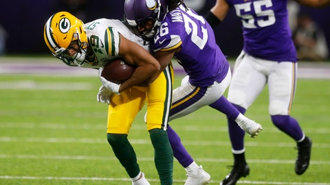 <p>               Green Bay Packers wide receiver Equanimeous St. Brown is tackled by Minnesota Vikings cornerback Trae Waynes (25) after making a reception during the first half of an NFL football game Sunday, Nov. 25, 2018, in Minneapolis. (AP Photo/Jim Mone)             </p>