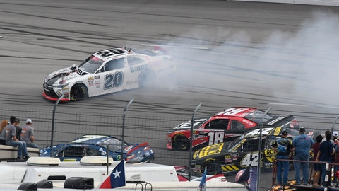 <p>               Christopher Bell spins in turn 2 early in the NASCAR Xfinity Series O'Reilly Auto Parts 300 at Texas Motor Speedway, Saturday, Nov. 3, 2018, in Fort Worth, Texas. (AP Photo/Larry Papke)             </p>