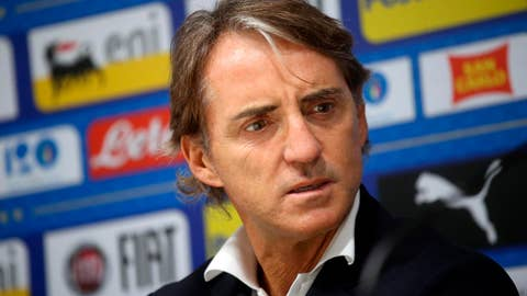 <p>               Italy coach Roberto Mancini attends a press conference at Giuseppe Meazza stadium in Milan, Italy, Friday, Nov. 16, 2018. Portugal will play Italy in a Nations League soccer match Saturday. (Matteo Bazzi/ANSA via AP)             </p>