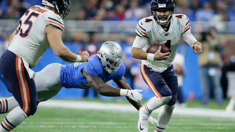 <p>               FILE - In this Nov. 22, 2018, file photo, Chicago Bears quarterback Chase Daniel (4) scrambles during the second half of the team's NFL football game against the Detroit Lions in Detroit. Daniel, the team's backup quarterback, last week helped defeat the Detroit Lions 23-16 as a replacement for injured Mitchell Trubisky without benefit of a real practice. With the Bears preparing Wednesday to face the New York Giants on Sunday, Daniel took the snaps with the first team while Trubisky practiced only on a limited basis with the shoulder injury he suffered Nov. 18 against the Minnesota Vikings. (AP Photo/Duane Burleson, File)             </p>