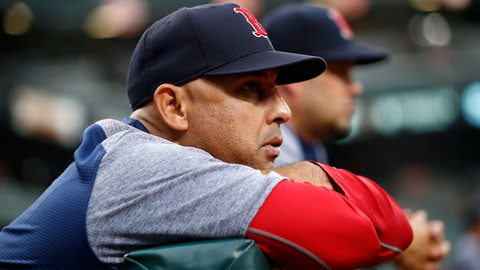 <p>               FILE - In this July 24, 2018, file photo, Boston Red Sox manager Alex Cora leans against the dugout rail during the second inning of the team's baseball game against the Baltimore Orioles in Baltimore. The Red Sox rewarded Cora for winning a World Series in his first year with the team, giving him a new contract that includes an additional guaranteed year through the 2021 season, in a deal announced Wednesday, Nov. 14. (AP Photo/Patrick Semansky, File)             </p>