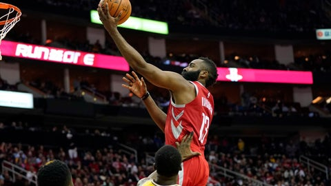 <p>               Houston Rockets' James Harden (13) goes up for a shot as Golden State Warriors' Draymond Green defends during the second half of an NBA basketball game Thursday, Nov. 15, 2018, in Houston. The Rockets won 107-86. (AP Photo/David J. Phillip)             </p>