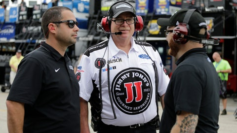 <p>               Tony Gibson, the crew chief for Stewart-Haas Racing, center, talks with crew members during practice for the NASCAR Cup auto race at the Homestead-Miami Speedway, Friday, Nov. 16, 2018, in Homestead, Fla. Gibson is filling in for suspended crew chief Rodney Childers on Kevin Harvick's No. 4 Ford. (AP Photo/Terry Renna)             </p>