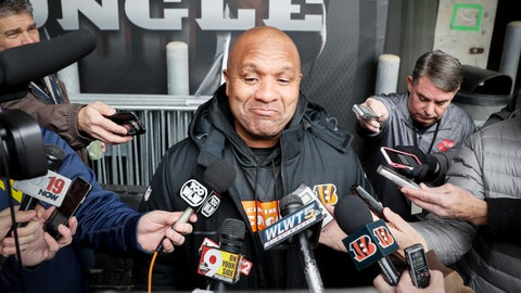 <p>               FILE - In this Nov. 14, 2018, file photo, Cincinnati Bengals special assistant Hue Jackson speaks to reporters before NFL football practice at Paul Brown Stadium in Cincinnati. Hue Jackson got only three wins with the Browns in his three seasons. Now he's trying to help coach Marvin Lewis and the Bengals beat his former team, which fired him only three weeks ago. (AP Photo/John Minchillo, File)             </p>