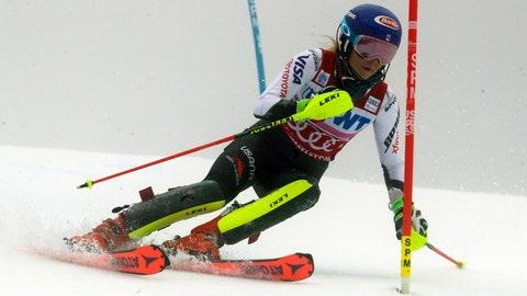 <p>               United States' Mikaela Shiffrin competes during the first run of the alpine ski, women's World Cup slalom in Killington, Vt., Sunday, Nov. 25, 2018. (AP Photo/Charles Krupa)             </p>