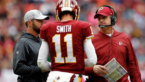 <p>               FILE - In this Oct. 14, 2018, file photo, Washington Redskins quarterback Alex Smith speaks with head coach Jay Gruden, right, during an NFL football game against the Carolina Panthers in Landover, Md. Gruden's Redskins have established a pattern: When they get a lead, they win; when they trail, they lose. The Redskins (5-3) are the only one of the NFL's 32 teams that both has managed to avoid a single loss after holding a lead and also has failed to come back to win a game after trailing. (AP Photo/Patrick Semansky, File)             </p>