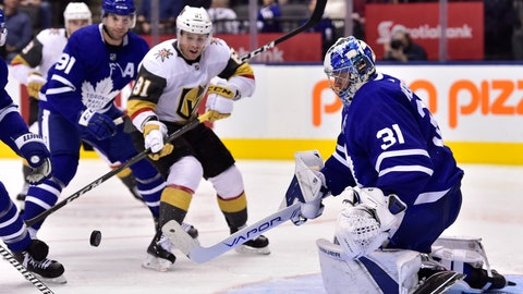<p>               Toronto Maple Leafs goaltender Frederik Andersen (31) watches the puck as Vegas Golden Knights center Jonathan Marchessault (81) looks for a rebound during the third period of an NHL hockey game Tuesday, Nov. 6, 2018, in Toronto. (Frank Gunn/The Canadian Press via AP)             </p>