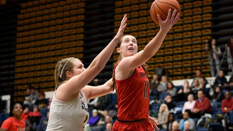 <p>               Maryland guard Taylor Mikesell (11) goes to the basket past George Washington forward Kelsi Mahoney, left, during the second half of an NCAA college basketball game, Wednesday, Nov. 14, 2018, in Washington. Maryland won 69-30. (AP Photo/Nick Wass)             </p>