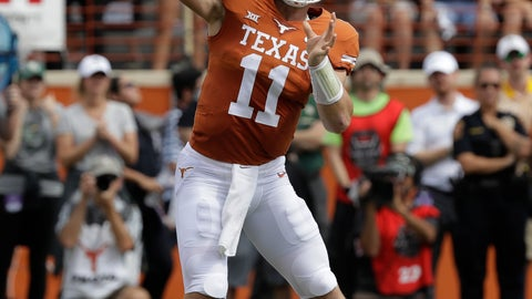 <p>               FILE - In this Saturday, Oct. 13, 2018, file photo, Texas quarterback Sam Ehlinger (11) throws against Baylor during the first half of an NCAA college football game in Austin, Texas. After years of being a late-season afterthought, Texas coach Tom Herman wanted the Longhorns to be competing for a Big 12 title in November. Texas is right where he wanted, with a key matchup against West Virginia to see just how long they stay there.  (AP Photo/Eric Gay, File)             </p>