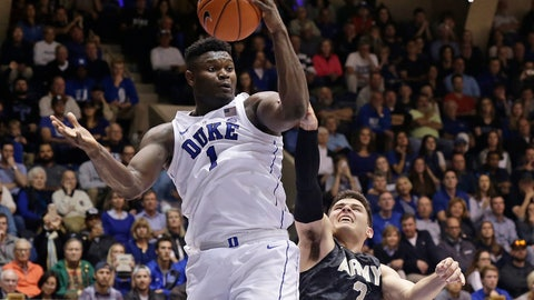 <p>               Duke's Zion Williamson (1) looks toward the basket while Army's Tommy Funk (3) defends during the second half of an NCAA college basketball game in Durham, N.C., Sunday, Nov. 11, 2018. (AP Photo/Gerry Broome)             </p>