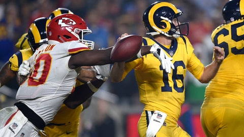 <p>               Kansas City Chiefs outside linebacker Justin Houston, left, strips the ball away from Los Angeles Rams quarterback Jared Goff (16) during the second half of an NFL football game, Monday, Nov. 19, 2018, in Los Angeles. Chiefs defensive end Allen Bailey recovered the ball and scored a touchdown. (AP Photo/Kelvin Kuo)             </p>