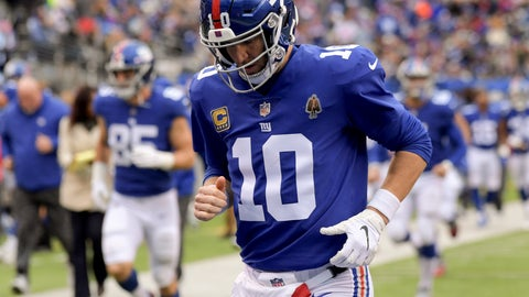 <p>               FILE - In this Oct. 28, 2018, file photo, New York Giants quarterback Eli Manning (10) runs off the field at the end of the first half of the team's NFL football game against the Washington Redskins in East Rutherford, N.J. The Giants play the San Francisco 49ers on Monday night. San Francisco quarterback Nick Mullens took part in the Manning Passing Academy two years. While Mullens is just getting started, Manning is nearing the end of his career as he plays his 15th season for a team that is struggling mightily. (AP Photo/Bill Kostroun, File)             </p>